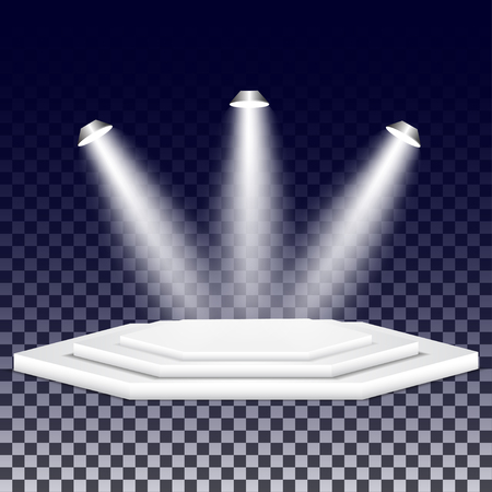 multifaceted: Multi-faceted podium with spotlights.