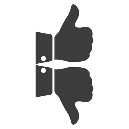 feedback link: Two grey fingers icon. Illustration