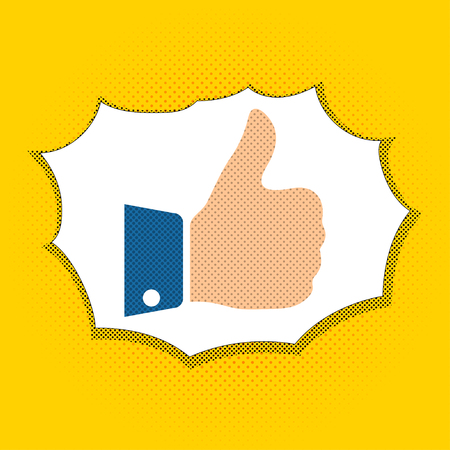feedback link: Raised finger in a comic retro style. Like in the pop art style. Thumbs up in a pop art style. Vector illustration.