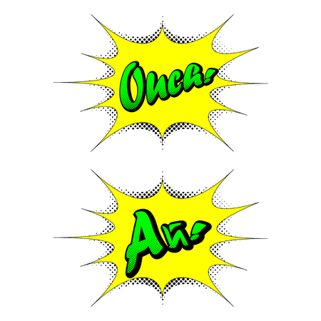 ouch: Emotion Ouch! in the pop art style. A speech bubble with the Ouch! emotion in the English and Russian languages. Speech bubble pop art style. Vector speech bubble with an exclamation of Ouch!. Illustration