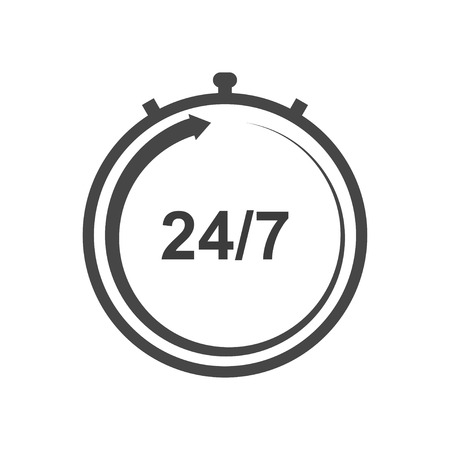 Stopwatch vector icon. Working hours icon. Support around the clock icon. Seven days a week.