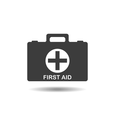 first aid kit: First aid kit vector icon. Medical bag icon. Healthcare icon. Vector illustration.