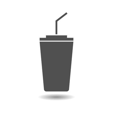 straw: Glass with a straw. The glass of coffee icon. The glass of soda. Vector icon of paper glass and straw.