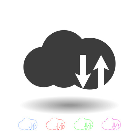 cloud technology: Cloud technology upload and download icon. Illustration