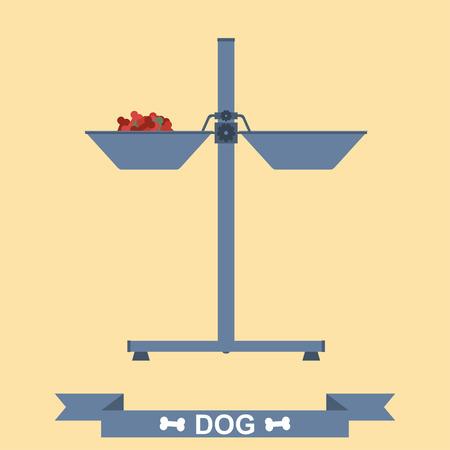 feeder: Dogs feeder vector flat icon. Feeder with dogs feed. Dogs feeder with treats. Vector flat icon. Illustration