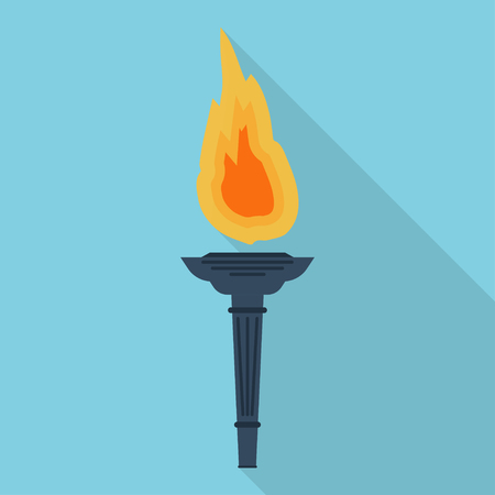 flambeau: Torch flat vector icon.