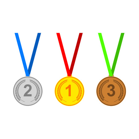 silver medal: Medal icons set.