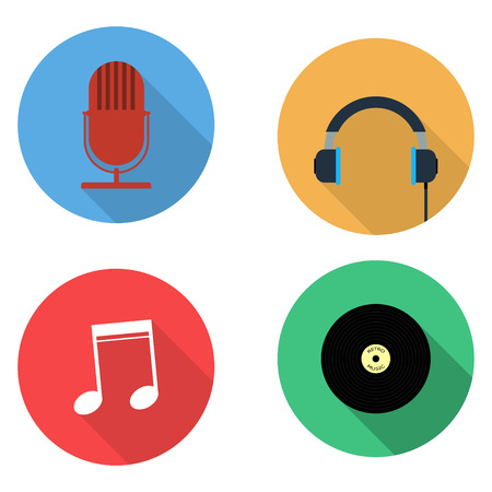 vinyl record: Music concepts in flat style. Set of vector microphone, headphones, note and vinyl record in flat style with long shadows. Illustration