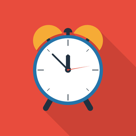page long: Alarm clock vector flat icon. Alarm clock icon with long shadow. Mobile app and web page design element. Flat style alarm clock icon.