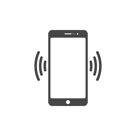 silent: Smart phone in silent mode icon. Illustration