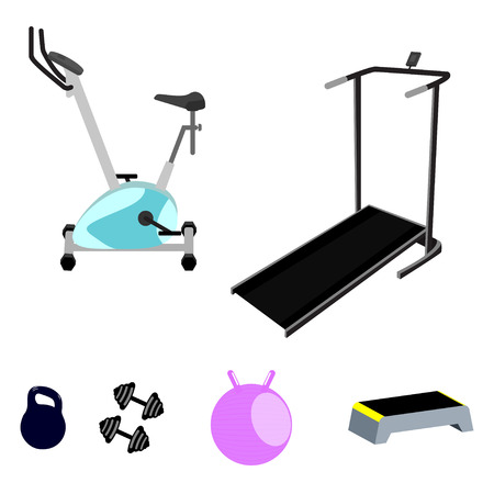 poise: Vector fitness equipment. Exercise bike, cinder-path, weight, weights, step board and fitball. Isolated on white vector fitness equipment.