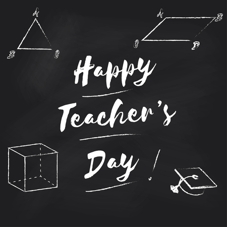 world class: Happy Teachers Day vector background. School board with an inscription in chalk Happy teachers day. Illustration