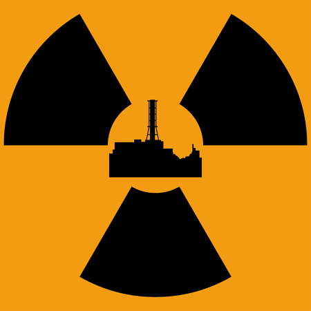 Tragedy at the Chernobyl nuclear power station. Accident in the fourth reactor of Chernobyl nuclear power station. April, 26. Vector illustration.