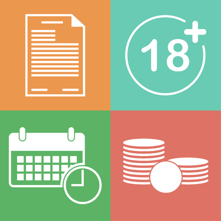 necessary: Lending terms flat icons. Loan conditions flat style icons. Terms of payment flat vector icon. The necessary conditions for obtaining a loan icons. ID or agreement, age, time and money flat icons.