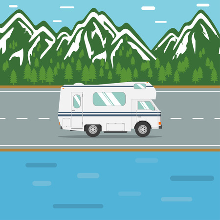 RV out wilderness road. Traveling in a recreational vehicle on a mountain road. Road trip in motorhome. Family traveler truck summer trip concept. RV travel landscape poster. Camper on road trip.