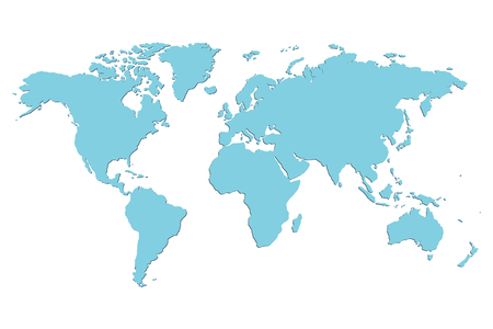 Worldmap vector template. World map for infographic. Blue blank world map.  Silhouette world map. Isolated vector world map. Stock vector world map.