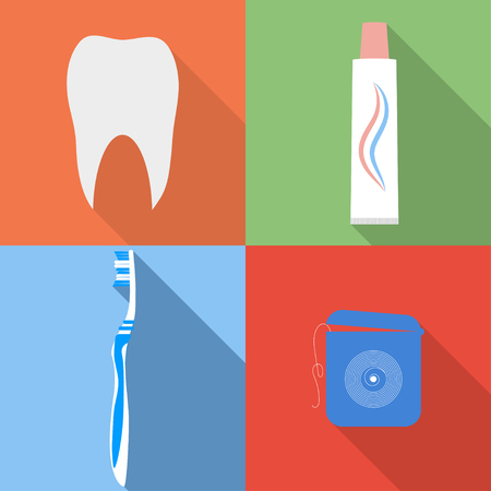 toothpaste: Dental flat vector icons. Tooth, toothbrush, toothpaste and dental floss icons set in flat style.