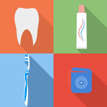 pasta dental: iconos vectoriales planos dentales. Dental, cepillo de dientes, pasta de dientes y seda dental iconos fijados en estilo plano.