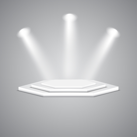 Multi-faceted podium with spotlights. Empty multi-faceted scene with floodlights. White multi-faceted stage with projectors. Polygonal empty white podium with spotlights. Illustration