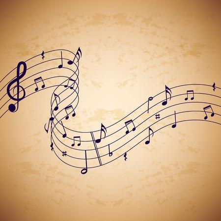 Les notes de musique sur fond vieux papier. Rétro musique de fond. Arrière-plan avec des notes de musique sur fond vieux papier.