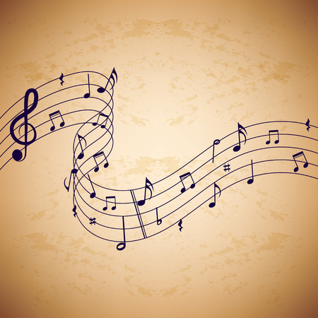 Music notes on old paper background. Retro music background. Background with music notes on old paper background.