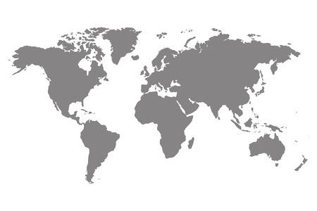 World map template. World map for infographic. Gray blank world map.  Silhouette world map. Isolated world map. Illustration