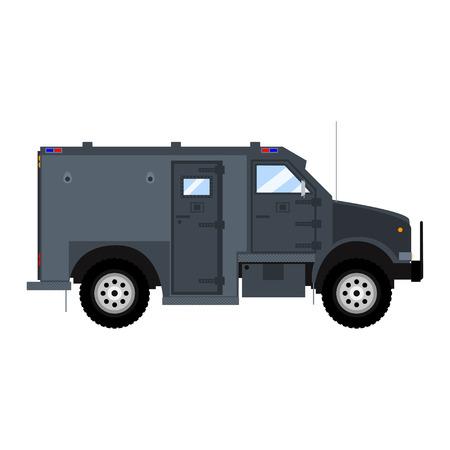 bank armored car. Bank armored car. Bank armored truck. Bank armored vehicle. Bank bulletproof car. Bank armored van. Isolated on white bank armored car. Illustration