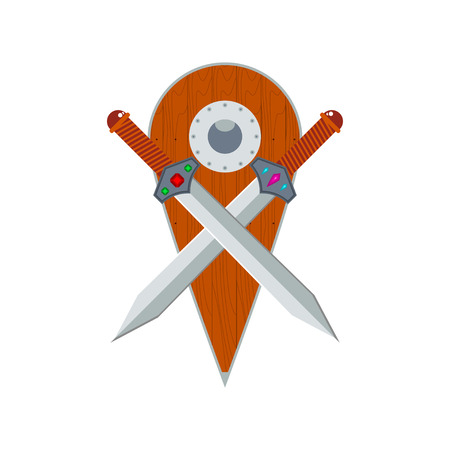 iron cross emblem: Two crossed swords and wooden shield