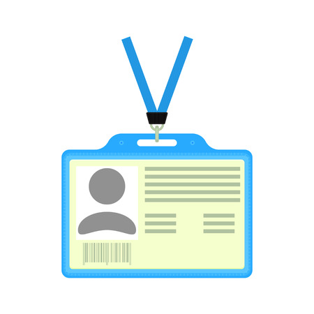 identification card: plastic ID badge. Identification card. badge holder with identification card. Isolated ID badge. Illustration