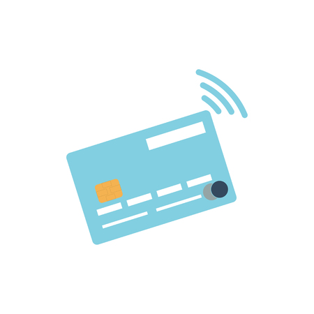 contactless: credit card icon. Contactless payment icon. Flat credit card with contactless payment technology.