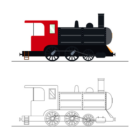steam locomotive: coloring an old steam locomotive. Color and outline old steam locomotive illustration. Coloring for kids - old steam locomotive.