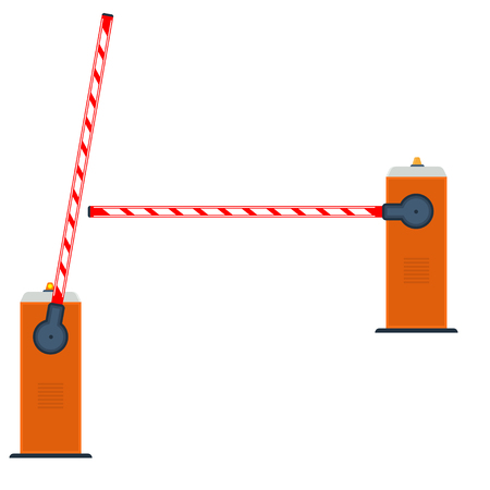road closed: automatic barrier illustration. Open and closed road barrier.