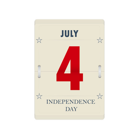 july 4: calendars sheet for Independence Day. Design for US Independence Day. Web banner for US Independence Day. Isolated on white calendar with July 4 date.