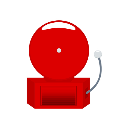 fire alarm: alarm bell. Fire alarm bell. Fire alarm signal. Red emergency signal. Alarm signaling. Isolated on white.