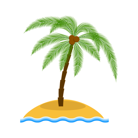 palm tree vector: Island with palm tree vector illustration. Cartoon island with palm. Summer vacation design. Summer vacation concept. Summer vacation  . Illustration