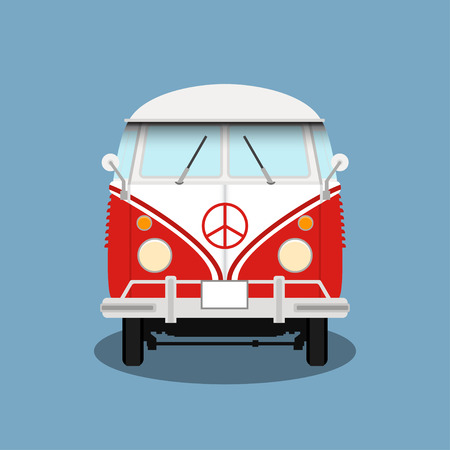 pacifist: classic retro bus. Old hipster bus. Red microbus with pacifist sign.