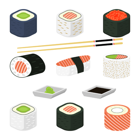 wasabi: Sushi rolls illustration. Different sushi rolls with seafood, avocado, salmon and red caviar. Set of traditional japanese sushi rolls with chopsticks for sushi, wasabi and sauce. Isolated on white.
