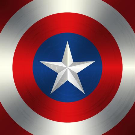 Vector weißen Stern in der schäbigen farbigen Kreisen. Vector Hintergrund für Superheld. Vektor-Illustration der Superhelden-Schild.
