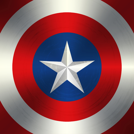 Vector white star in the shabby colored circles. Vector background for superhero. Vector illustration of superhero shield.