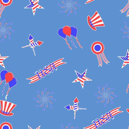 national holiday: 4th of July vector seamless pattern background. USA independence day vector seamless pattern. Festive background for the US national holiday. Illustration