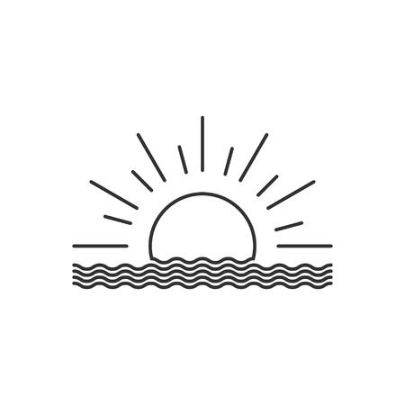 Vector outline sunset or sunrise icon. Sunset or sunrise  design. Vector illustration.