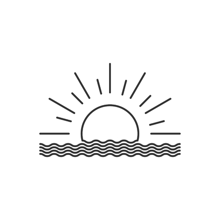 Vector outline sunset or sunrise icon. Sunset or sunrise  design. Vector illustration.