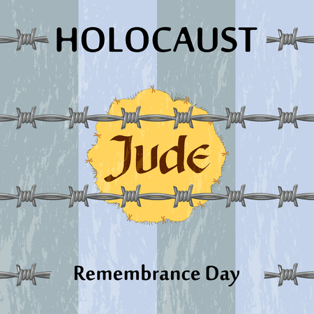 holocaust: Vector Jewish star and barbed wire. Holocaust remembrance day illustration. Jewish genocide background with barbed wire and boilersuit.