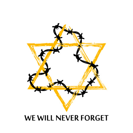 genocide: Vector Jewish star with barbed wire and lettering we will never forget. Holocaust remembrance day illustration. Isolated on white.
