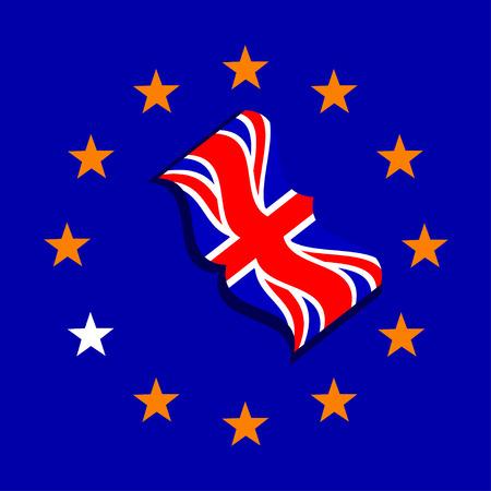 britannia: Vector ue and uk flags. Brexit. Vote in Great Britain
