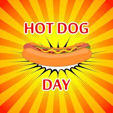 american table: Vector poster for national hot dog day. Background for hot dog day. Hot vector poster for fast foods design.