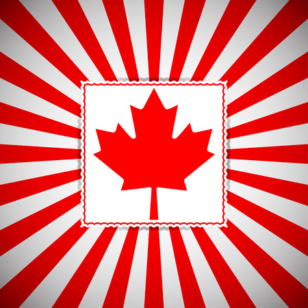 history month: Canada day vector background. Vector poster for all Canadian national holidays. Background with red and white rays and red maple leaf.