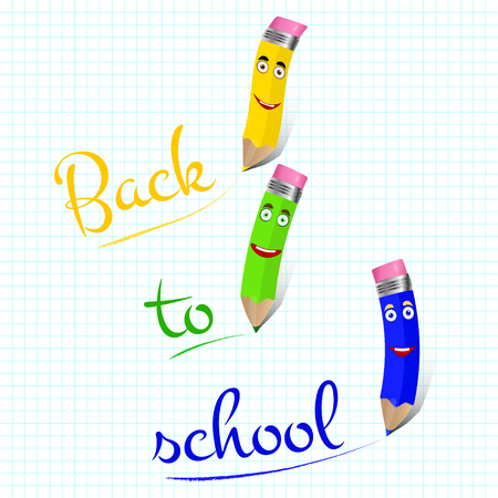 Three cute colored pencils characters with text back to school. Vector background. Stok Fotoğraf - 61162049