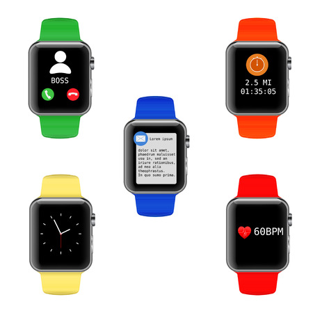 straps: Vector smart watch with different UI icons. Set of digital watches or clocks with colorful straps and various icons on the screen. Isolated on white.