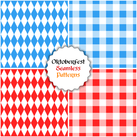 Vector set of oktoberfest seamless patterns background. Backdrop for traditional beer festival.